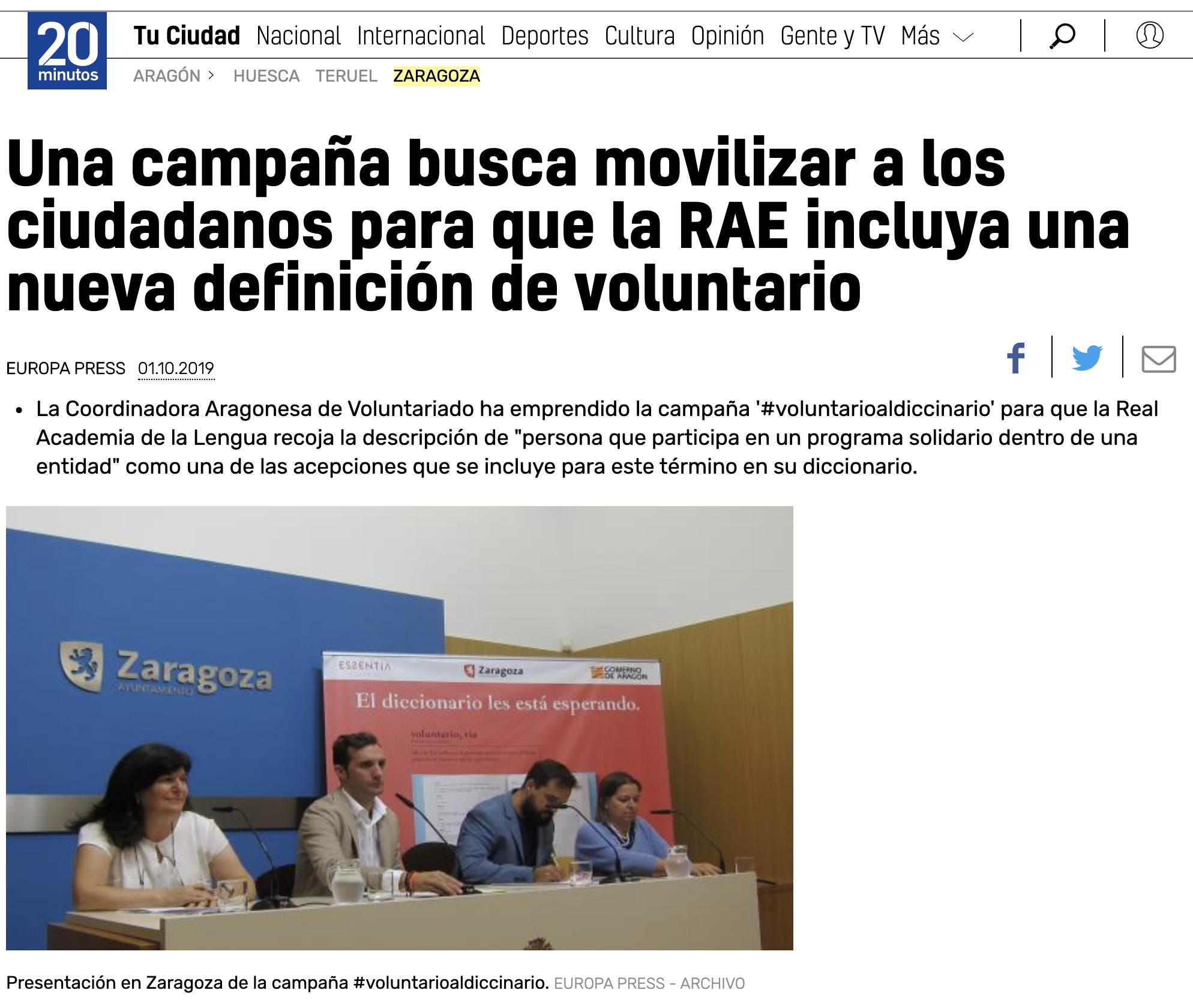 20 minutos: Una campaña busca movilizar a los ciudadanos para que la RAE incluya una nueva definición de voluntario.