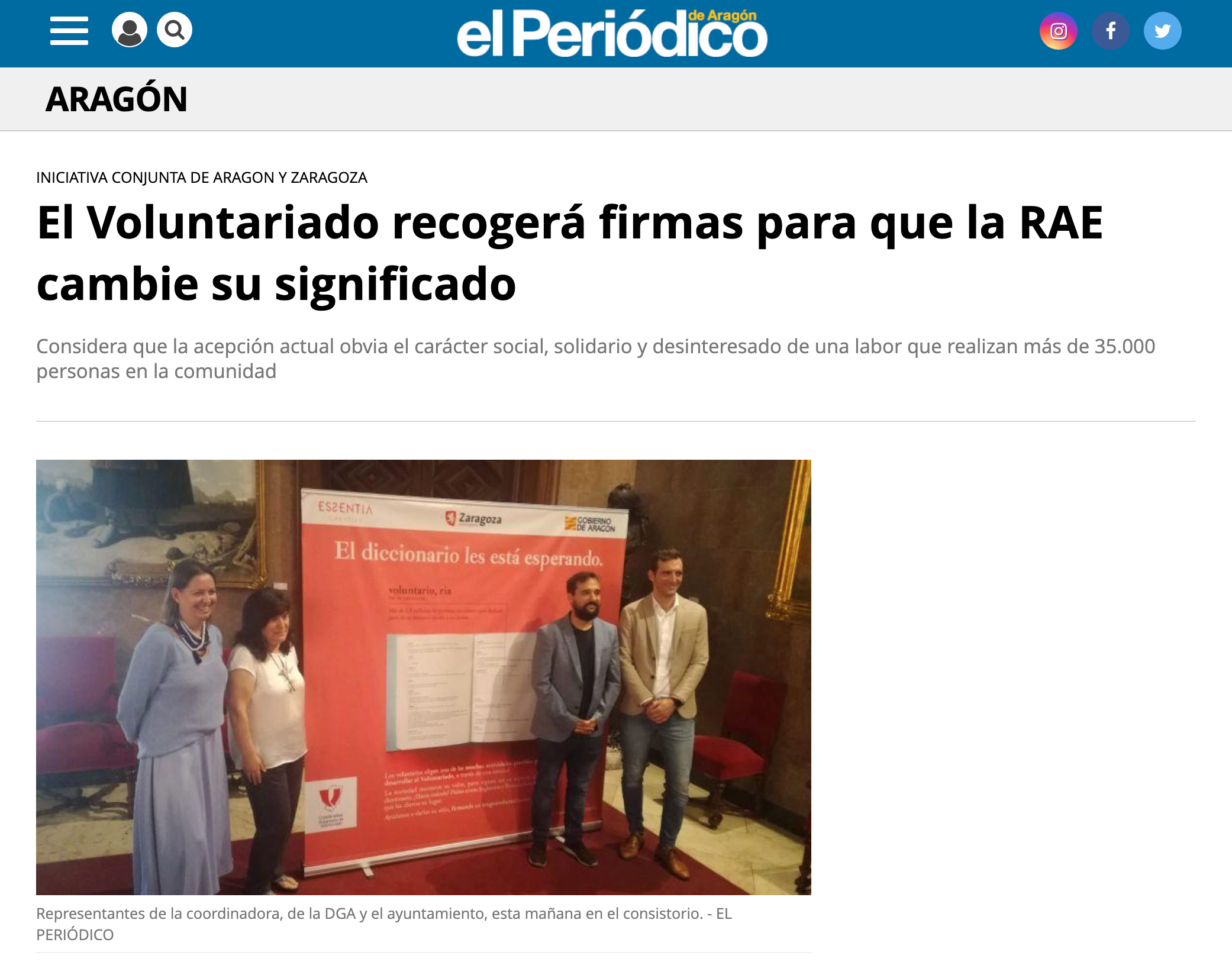 El Periódico: El Voluntariado recogerá firmas para que la RAE cambie su significado.
