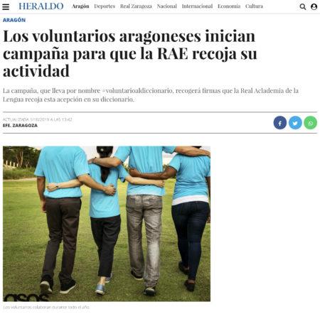 Heraldo: Los voluntarios aragoneses inician campaña para que la RAE recoja su actividad