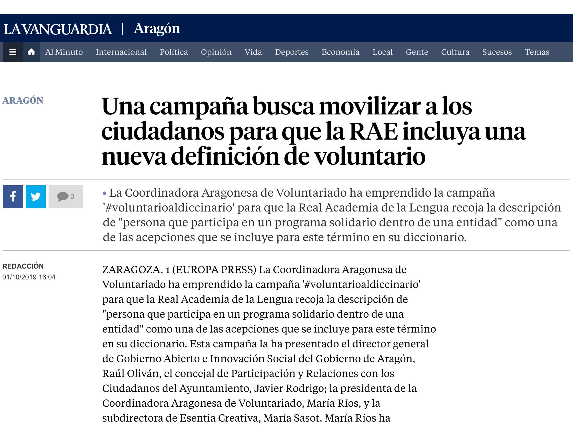 La Vanguardia: Una campaña busca movilizar a los ciudadanos para que la RAE incluya una nueva definición de voluntario.