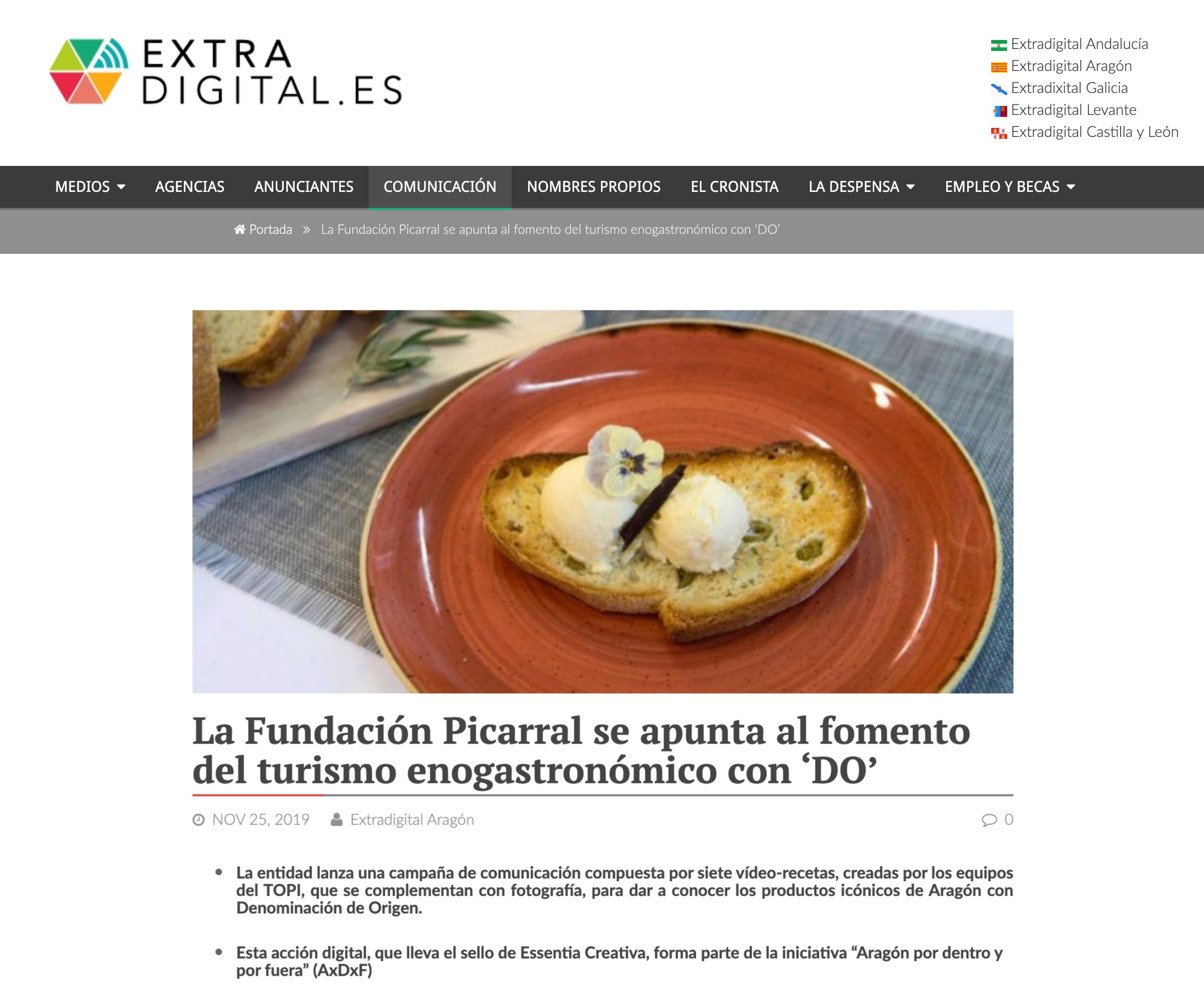 ExtraDigital: «La Fundación Picarral se apunta al fomento del turismo enogastronómico con 'DO' «