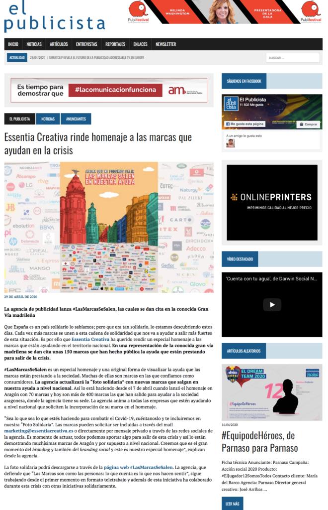 El Publicista: Essentia Creativa rinde homenaje a las marcas que ayudan en la crisis