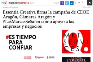 Marketing Directo: Essentia Creativa firma la campaña de CEOE Aragón, Cámaras Aragón y #LasMarcasSeSalen como apoyo a las empresas y negocios